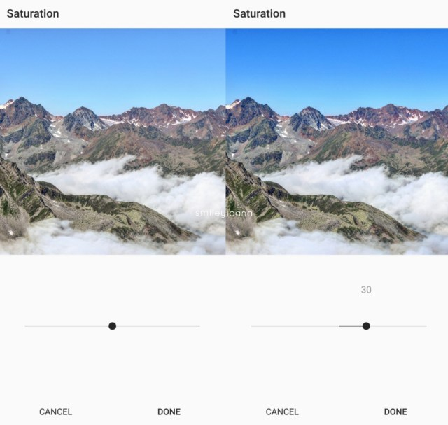 Mountain panorama photo. Using Saturation effect to value 30
