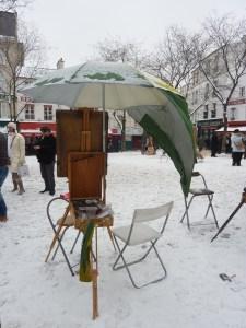 La place du Tertre sous la neige