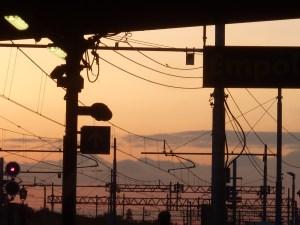 Coucher de soleil, gare d'Empoli (entre Pise et Sienne)