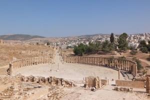 La fameuse place ovale qui ouvre sur le cardo Maximus, la plus grande rue de la ville