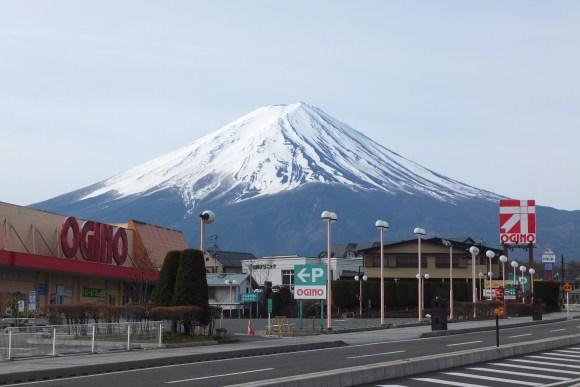 Dès le centre-ville, le mont Fuji est là :-)