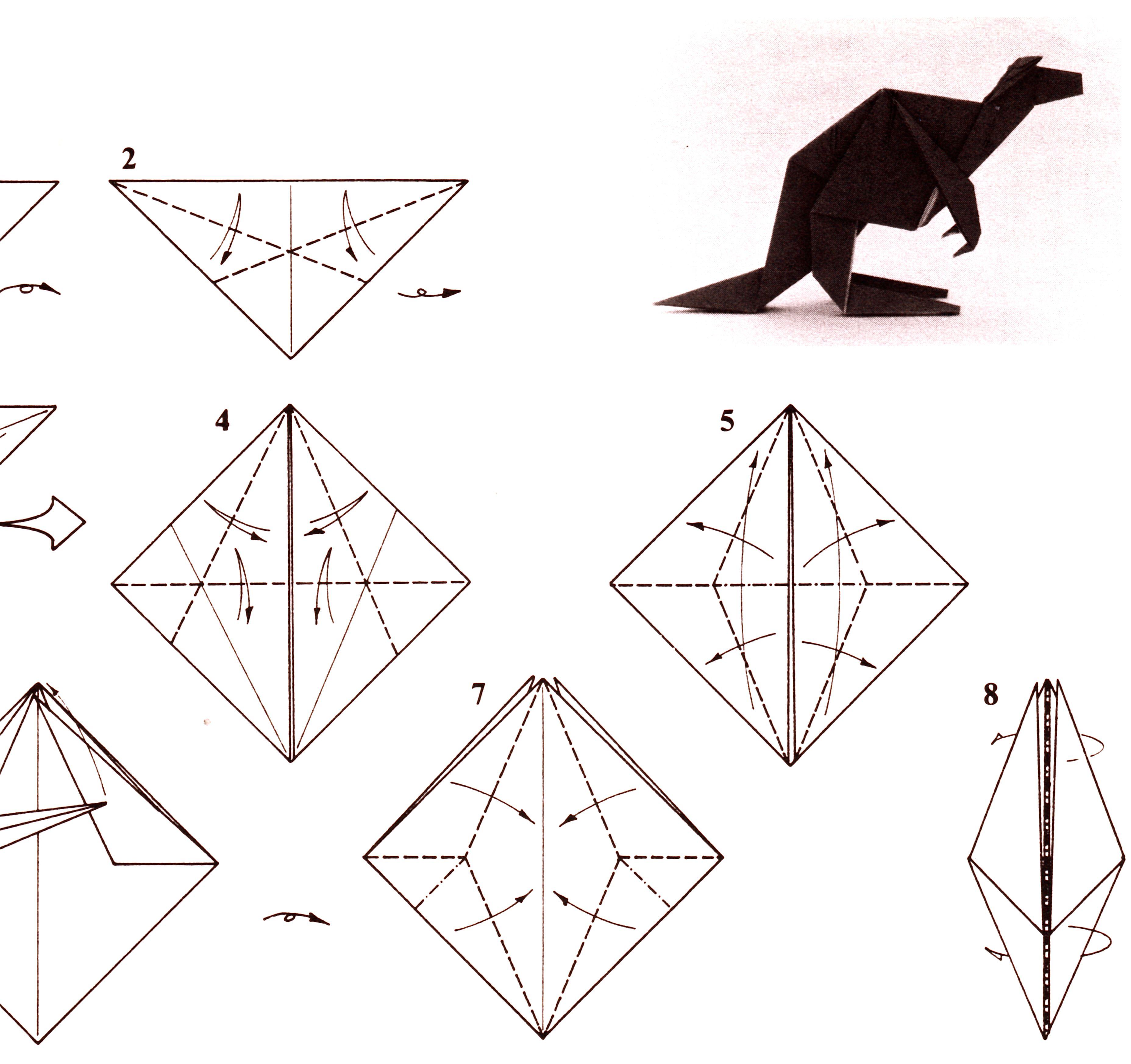 Dollar Bill Origami Kangaroo Diagram