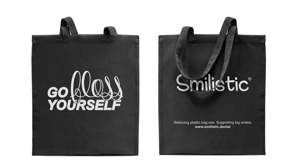 """Go Floss Yourself"" Smilistic® Shopping Bag fekete pamutvászon bevásárlótáska"