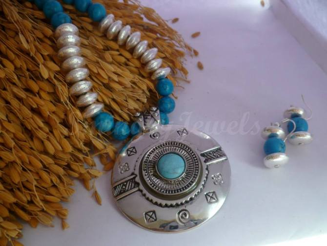 ECJ-27 Turquoise blue necklace set