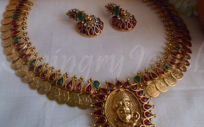 Traditional antique kasu mala set designs necklace in temple design south jewellery