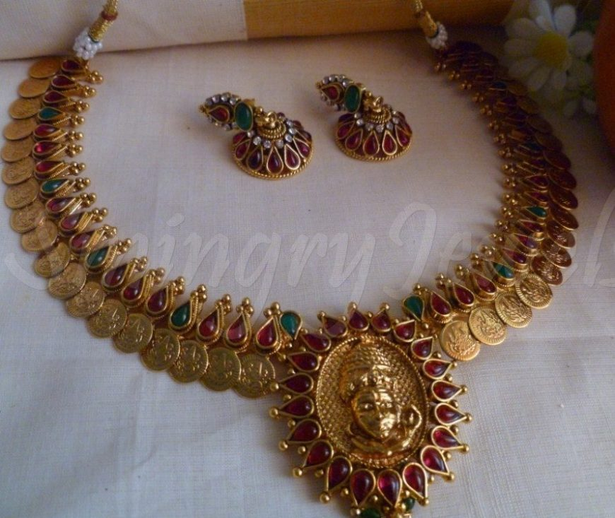 Traditional antique kasu mala set designs necklace in temple design south jewellery