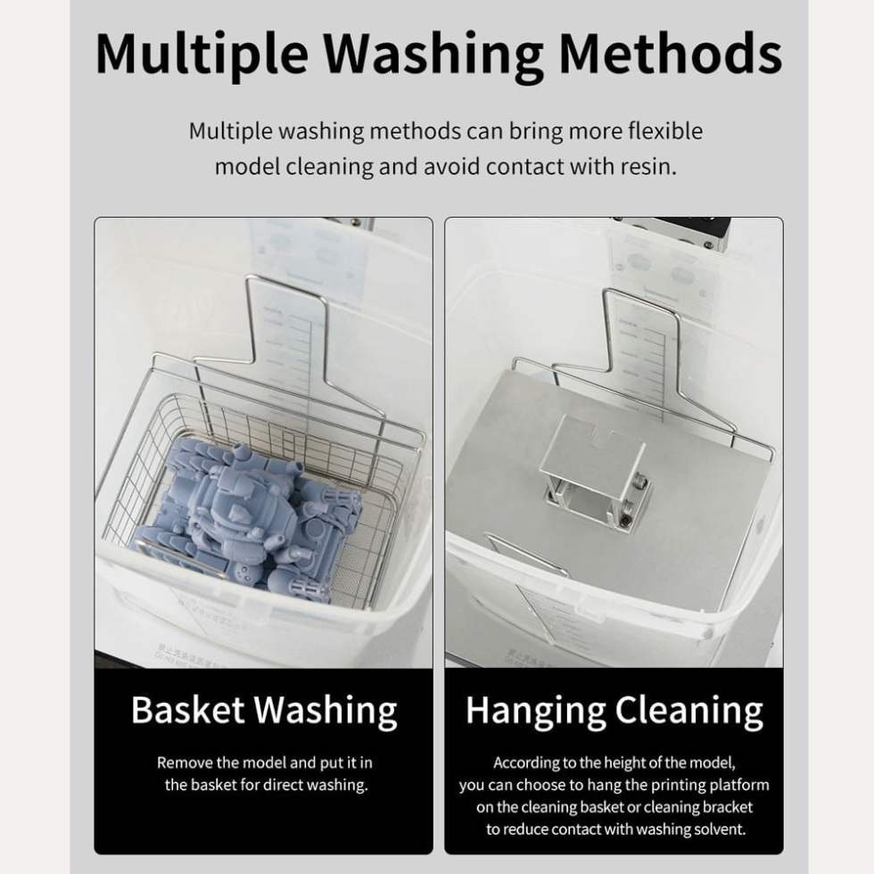 Basket and hanging cleaning washing method for Anycubic Wash & Cure Plus Machines