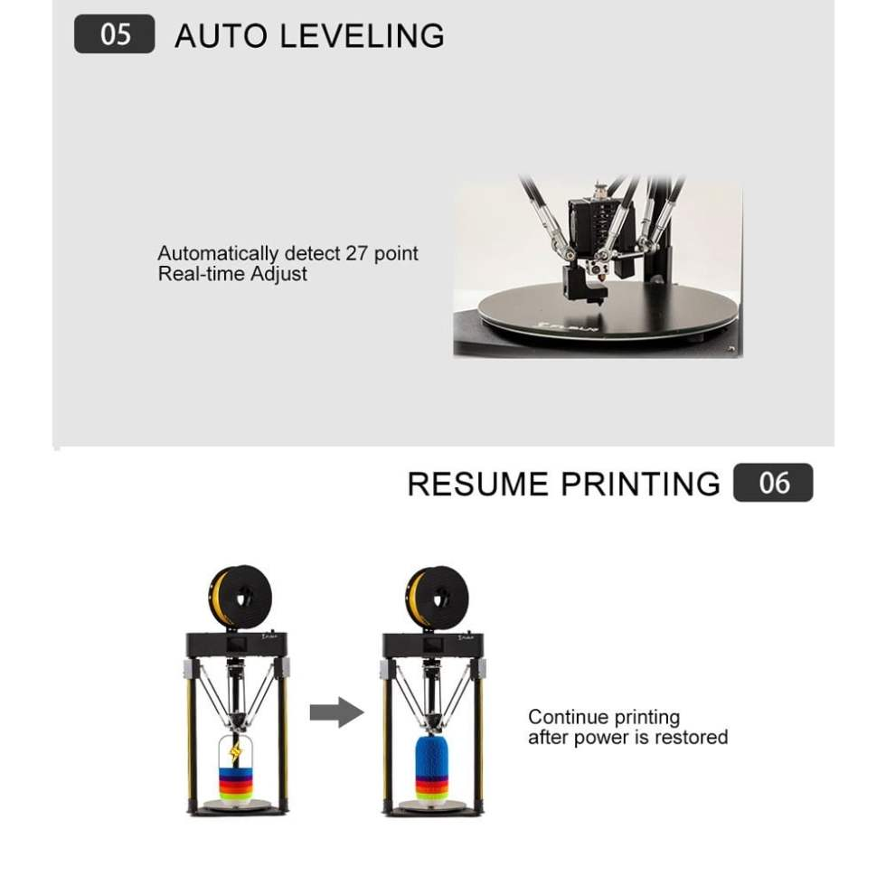 Auto leveling and resume printing function for Flsun Q5 3D Printer