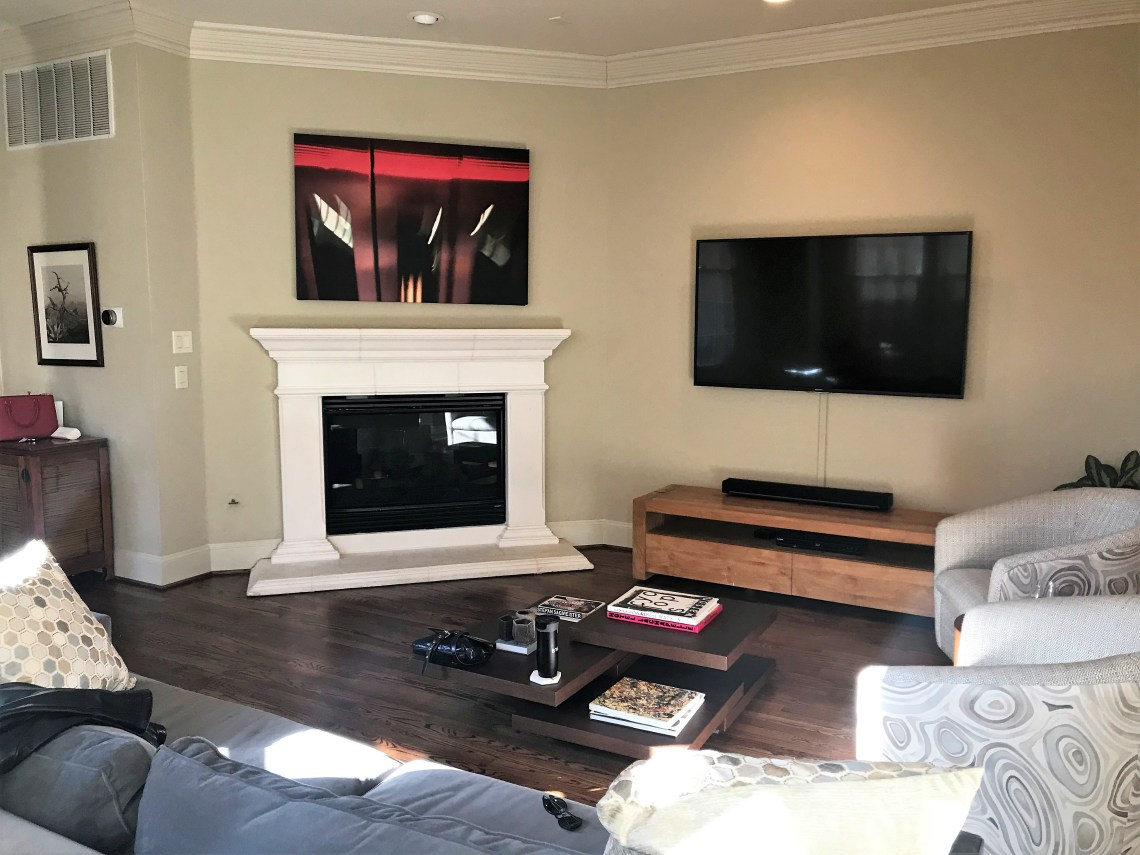 before and after living room fire place