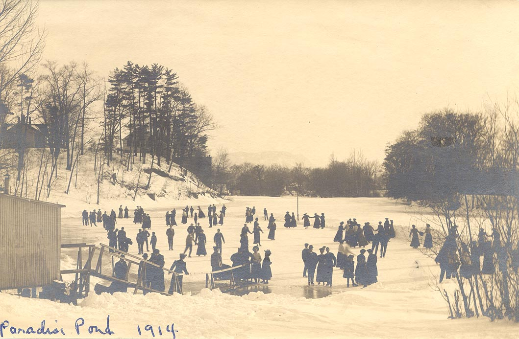 Student and townspeople skating on Paradise Pond, 1914