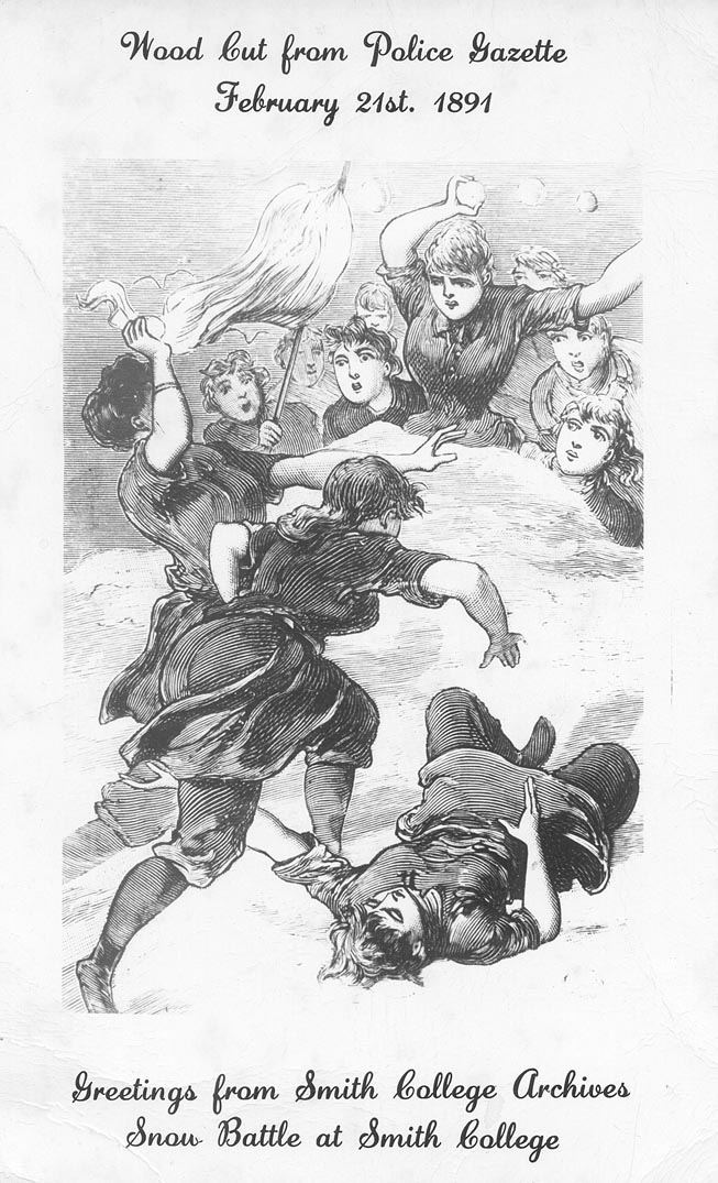 Smith College 'famous snowball fight', 1891