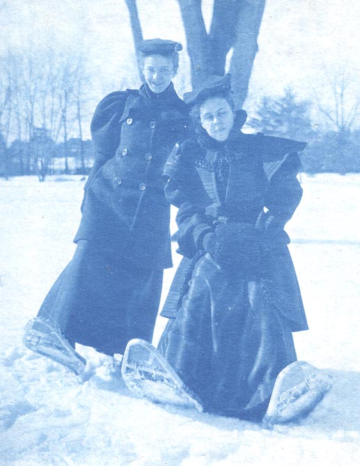 Cora and Clara on snowshoes, 1895