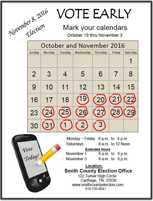 2016 Smith County Election calendar
