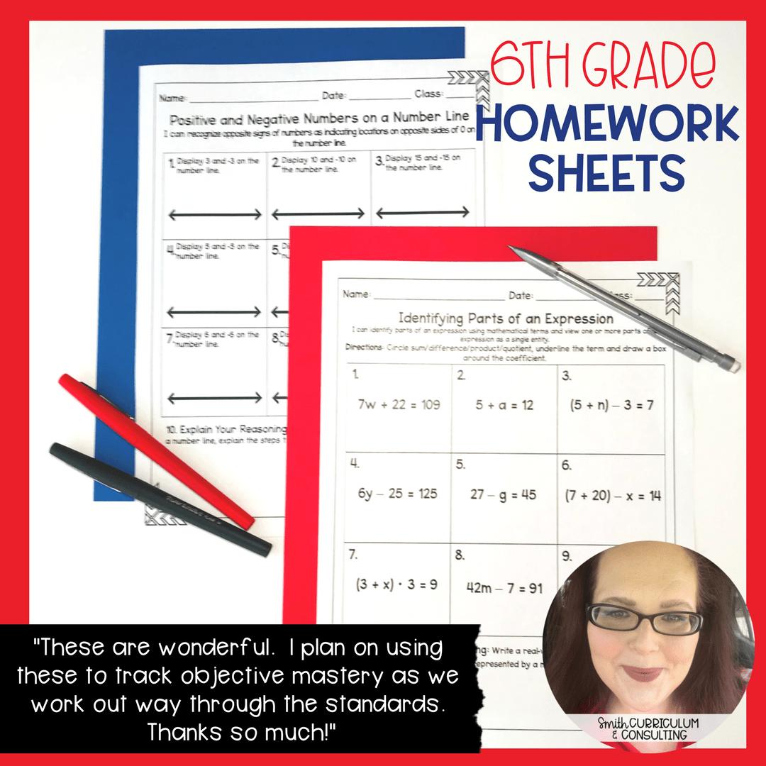 Sixth Grade Math Homework