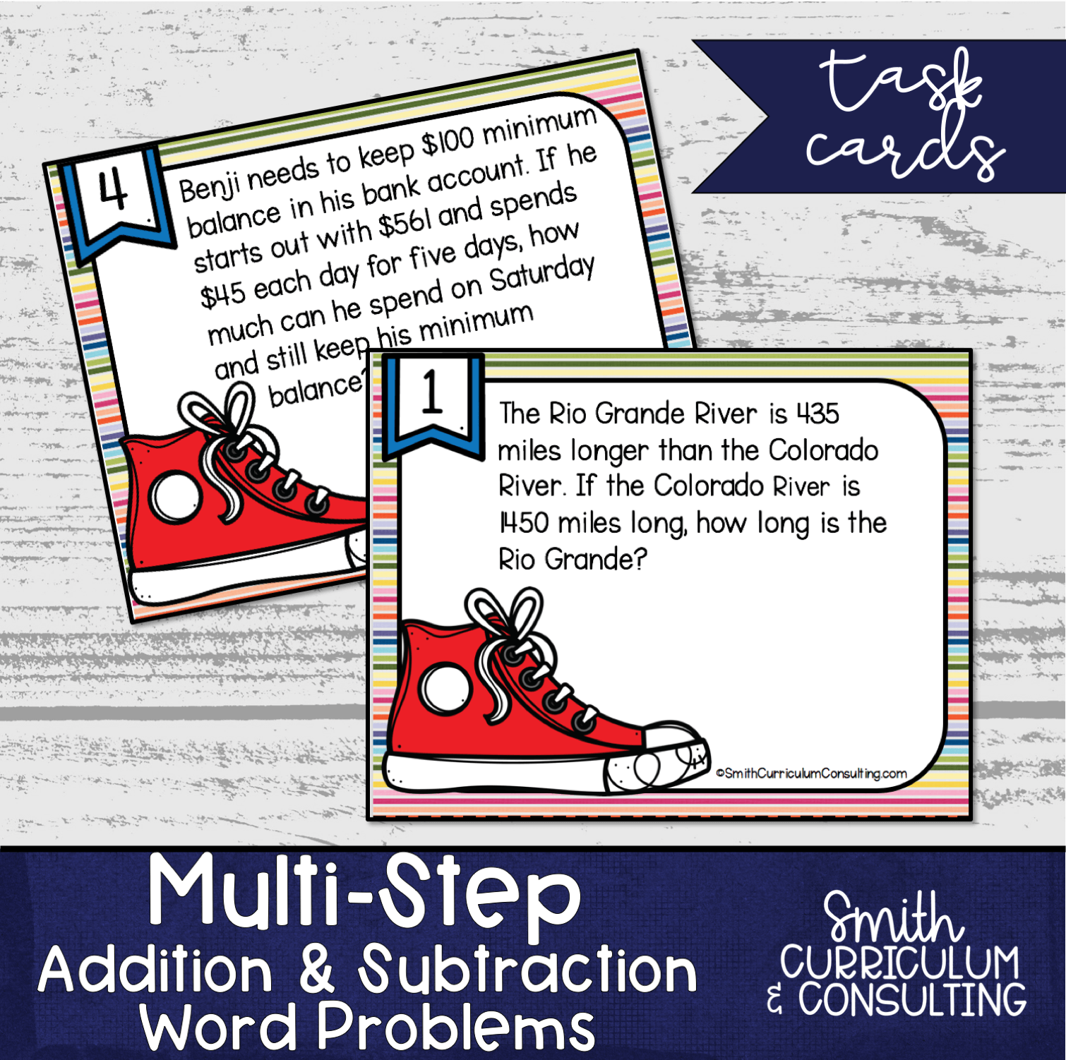 Multi Step Addition And Subtraction Word Problem Task Cards