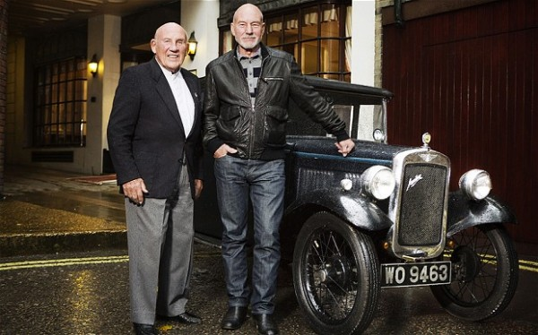 Stirling Moss and Patrick Stewart