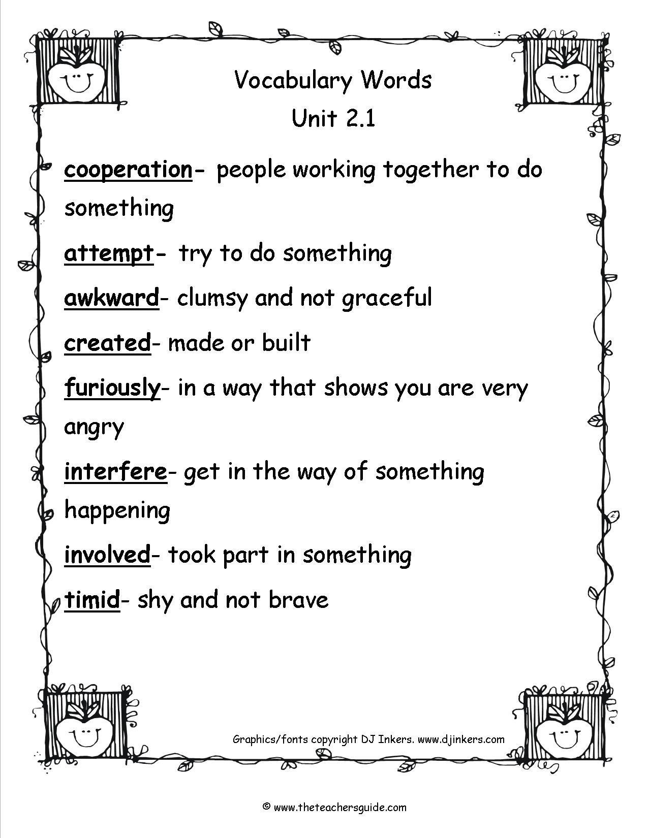 30 2nd Grade Vocabulary Worksheet