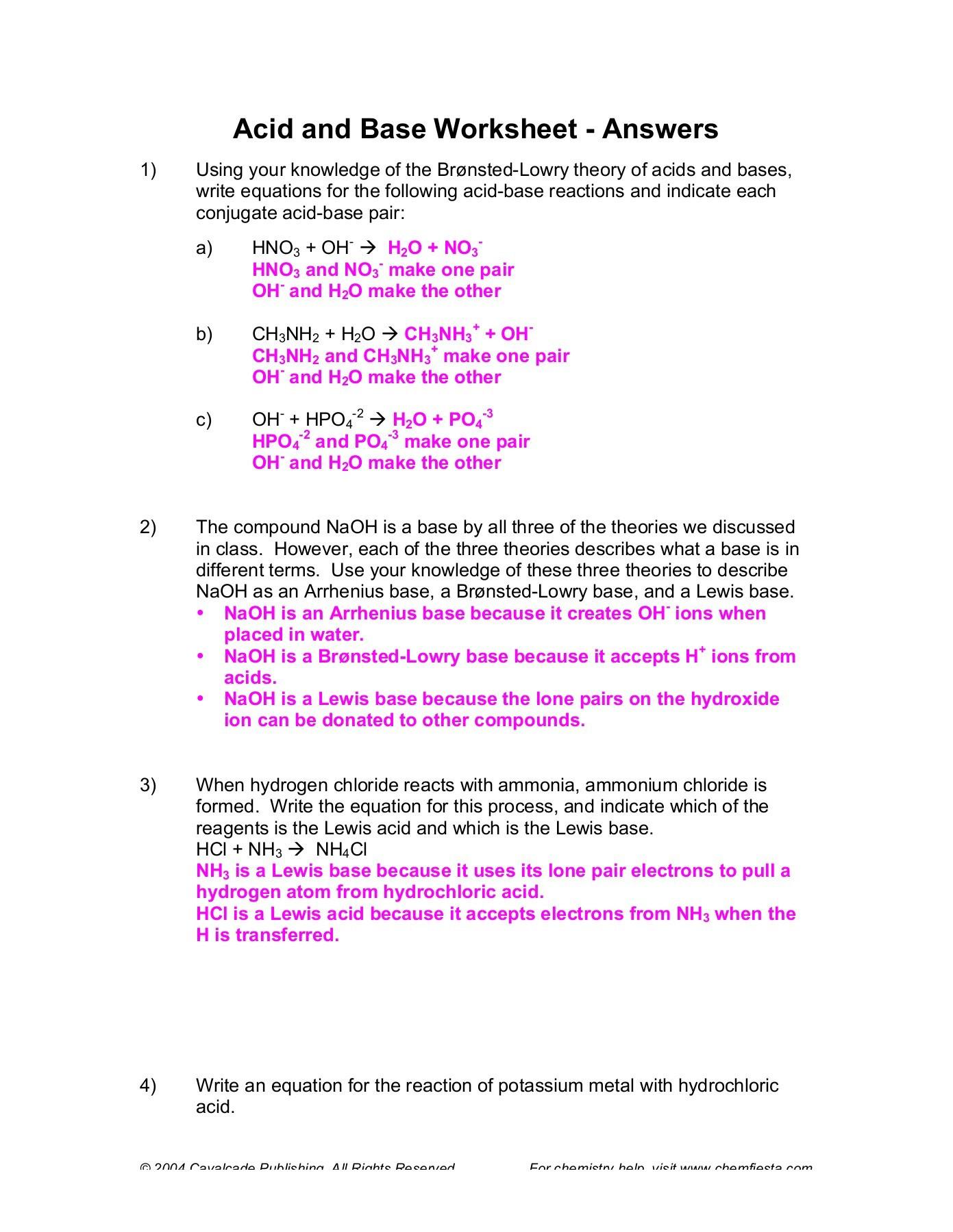 30 Acid And Base Worksheet Answers