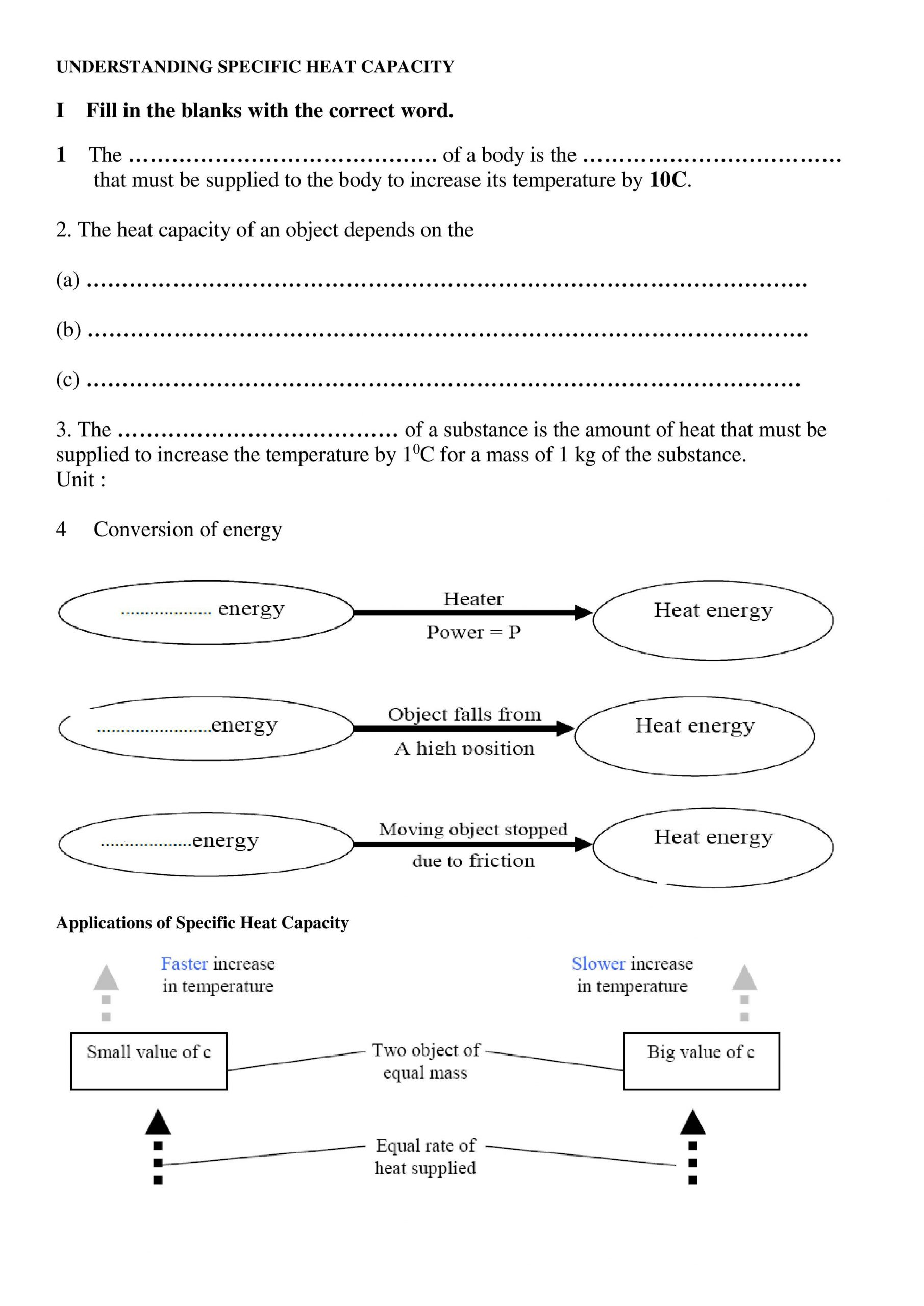 30 Calculating Specific Heat Worksheet