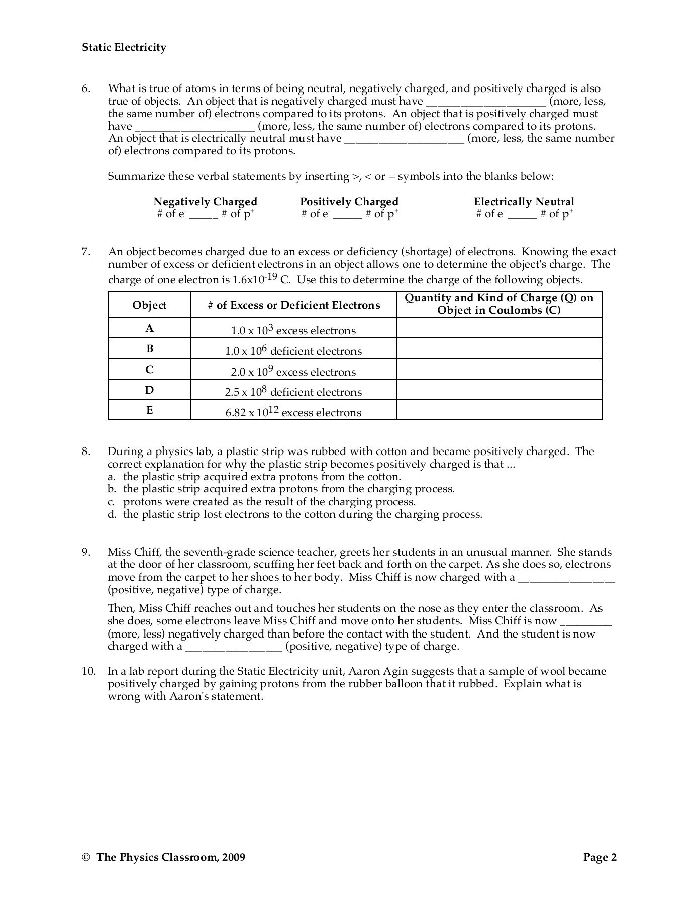 30 Charge And Electricity Worksheet Answers