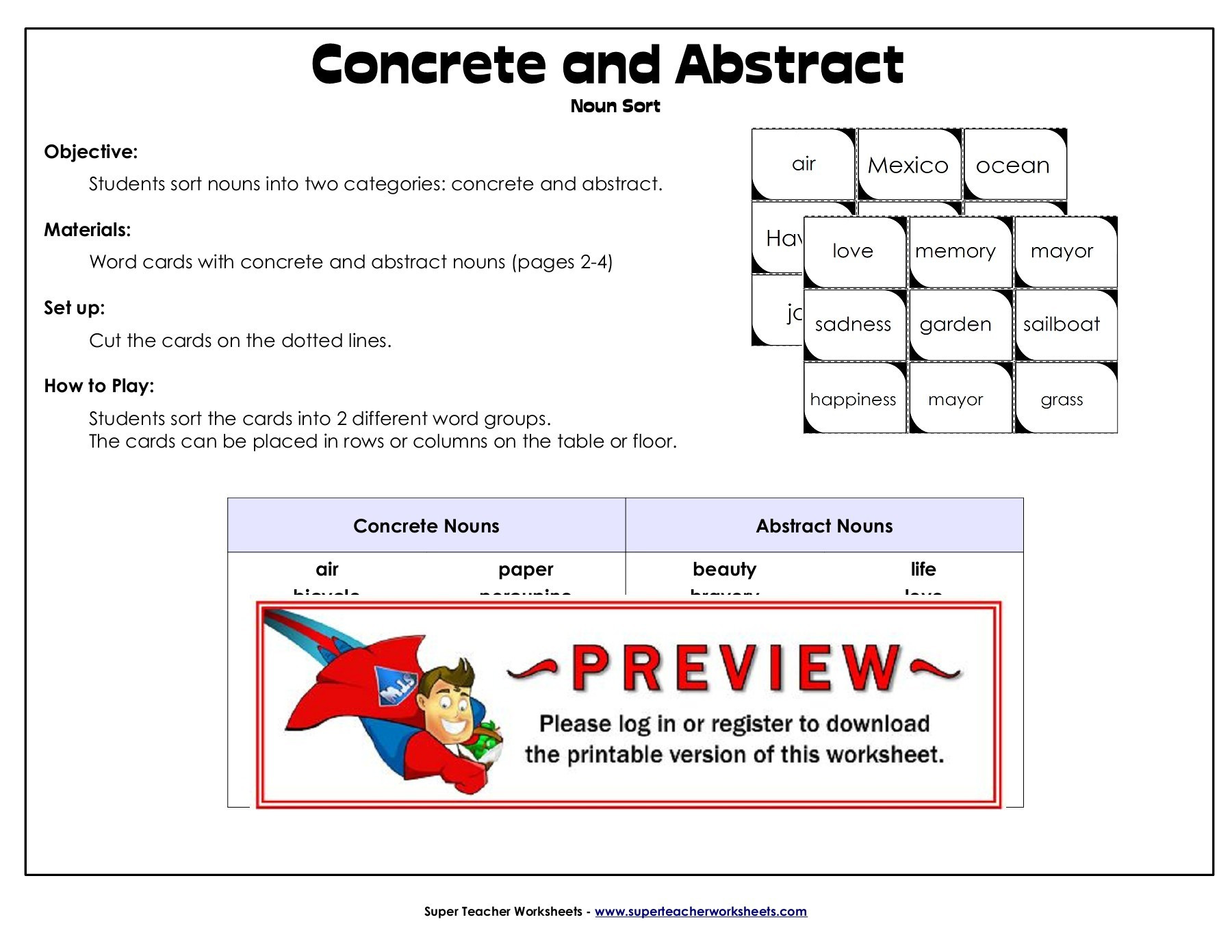 30 Concrete And Abstract Nouns Worksheet
