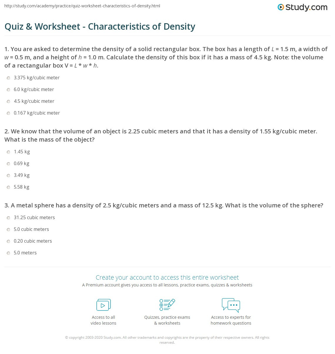 Density Puzzle Worksheets Printable Worksheets And Activities For Teachers Parents Tutors And Homeschool Families