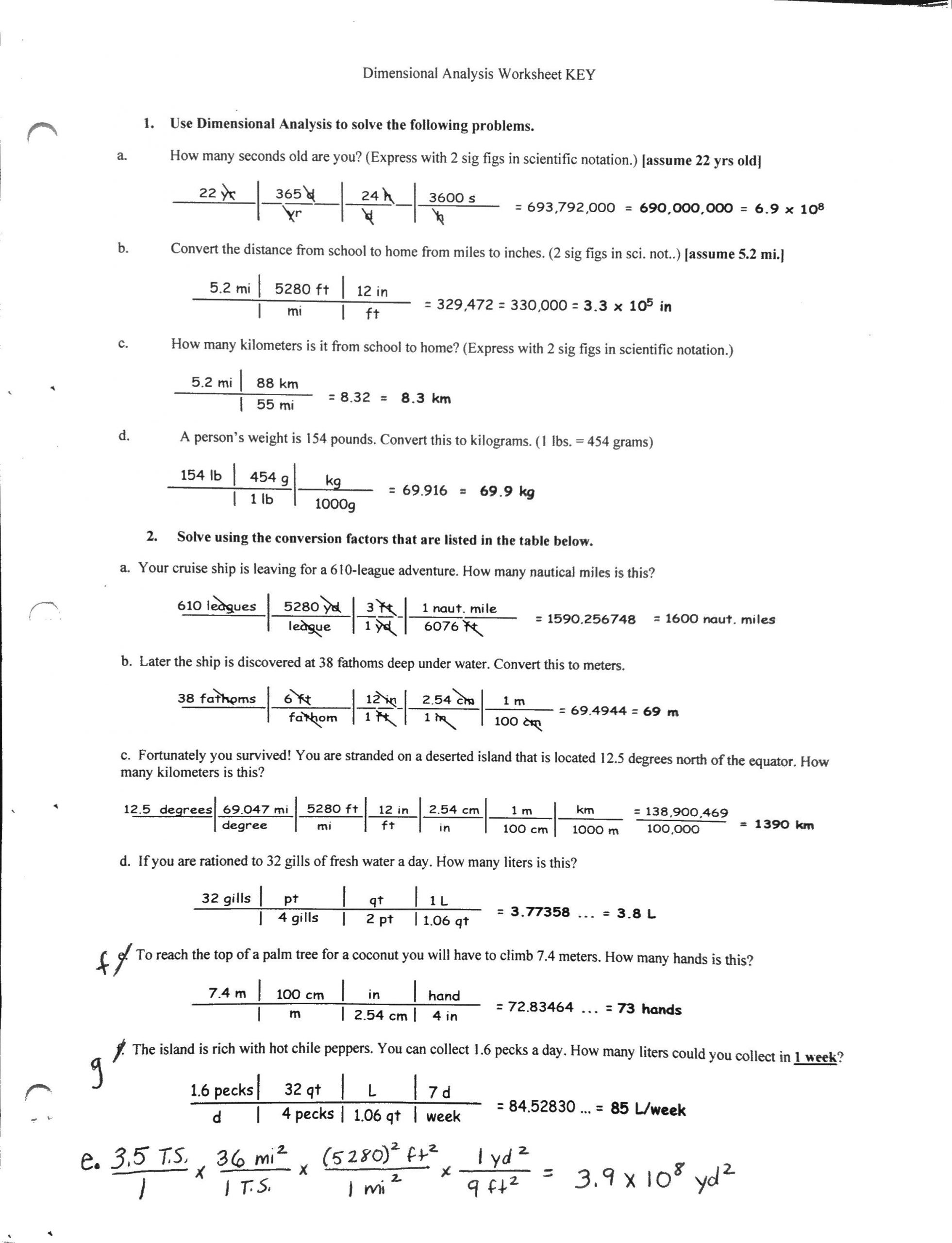 30 Dimensionalysis Worksheet And Answers