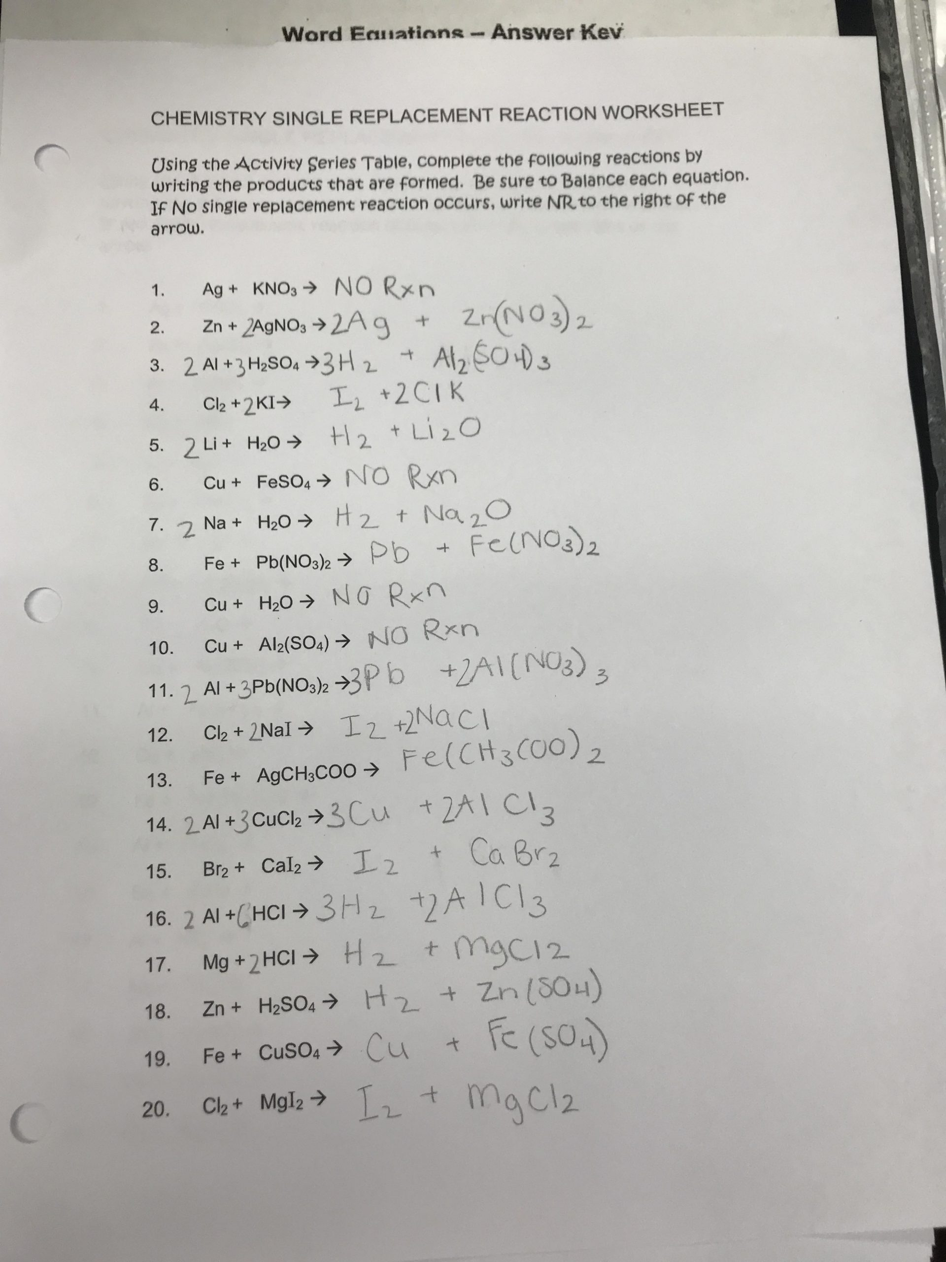 30 Double Replacement Reaction Worksheet