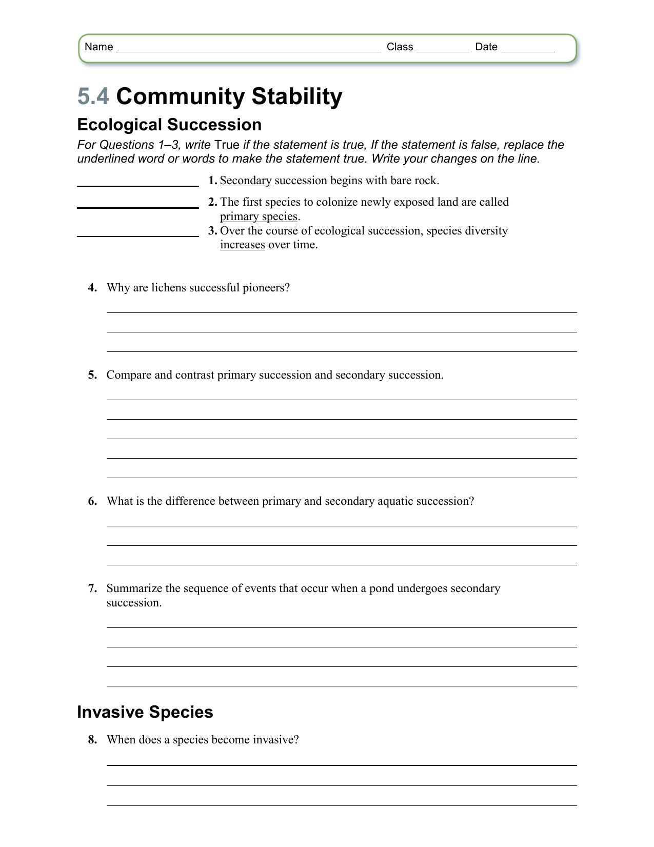 30 Ecological Succession Worksheet Answer Key