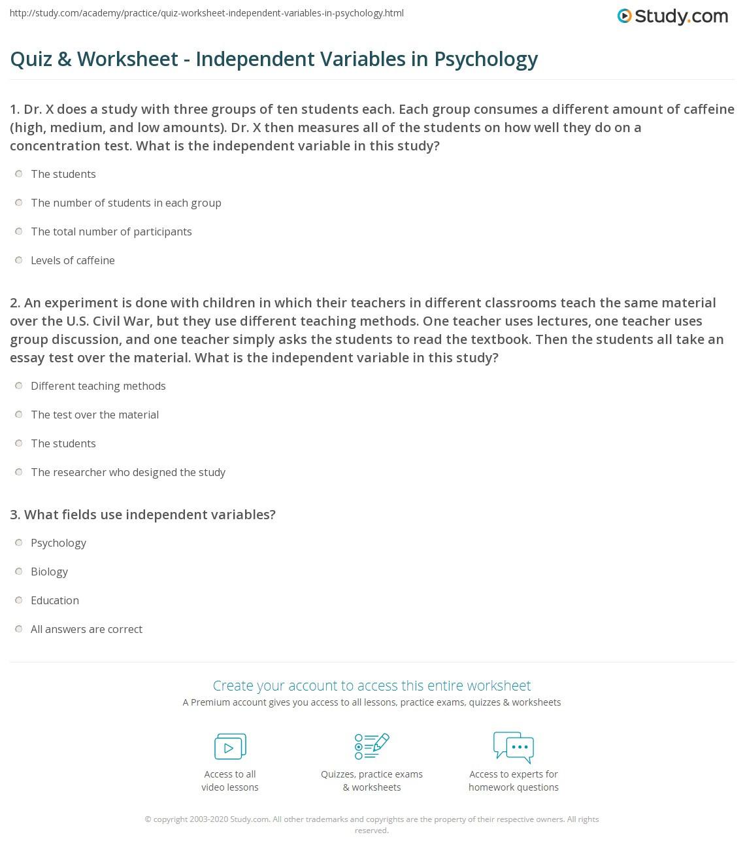30 Independent Dependent Variable Worksheet