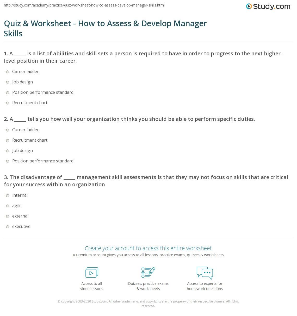 30 Job Skills Assessment Worksheet