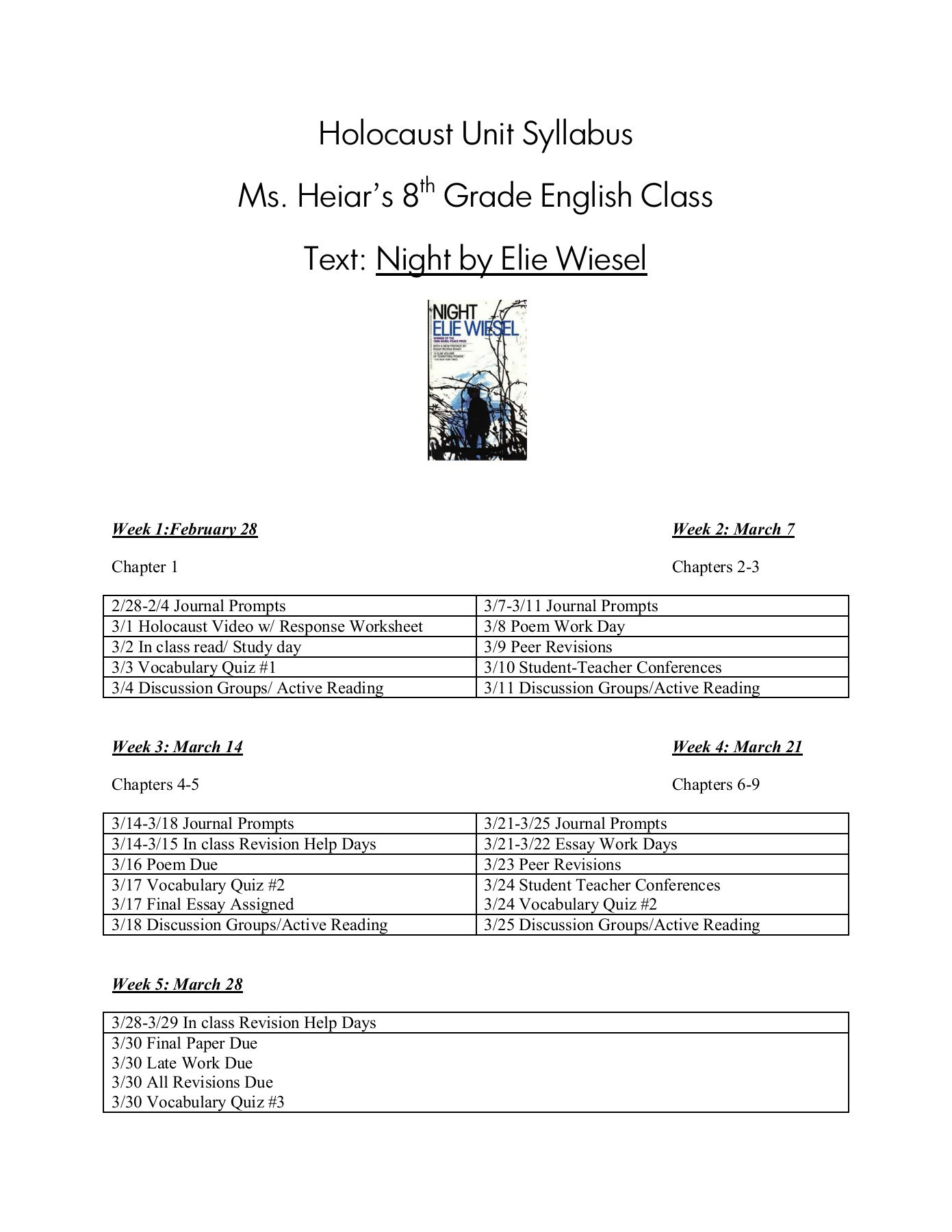 30 Night Elie Wiesel Worksheet Answers