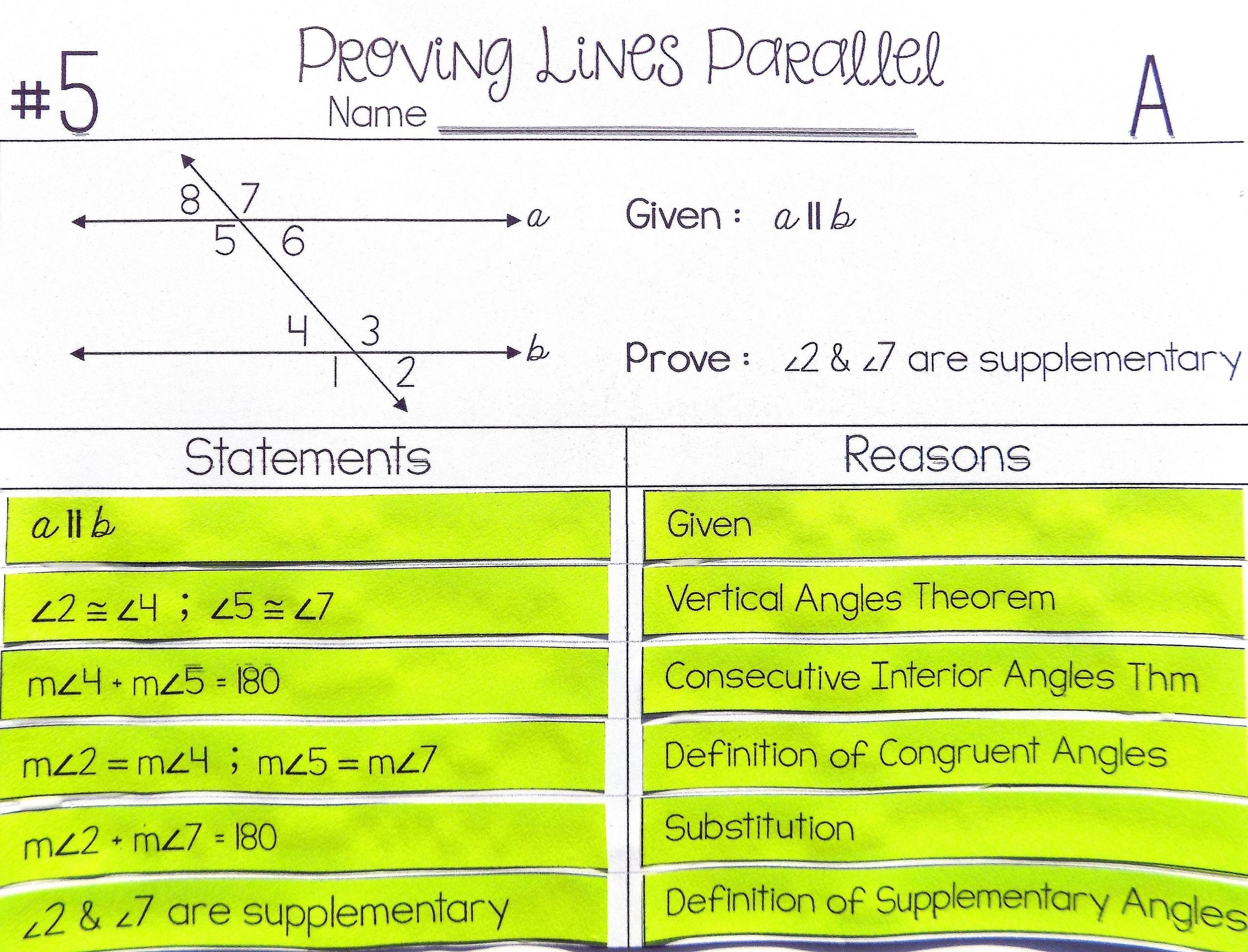 30 Parallel Lines Proofs Worksheet Answers