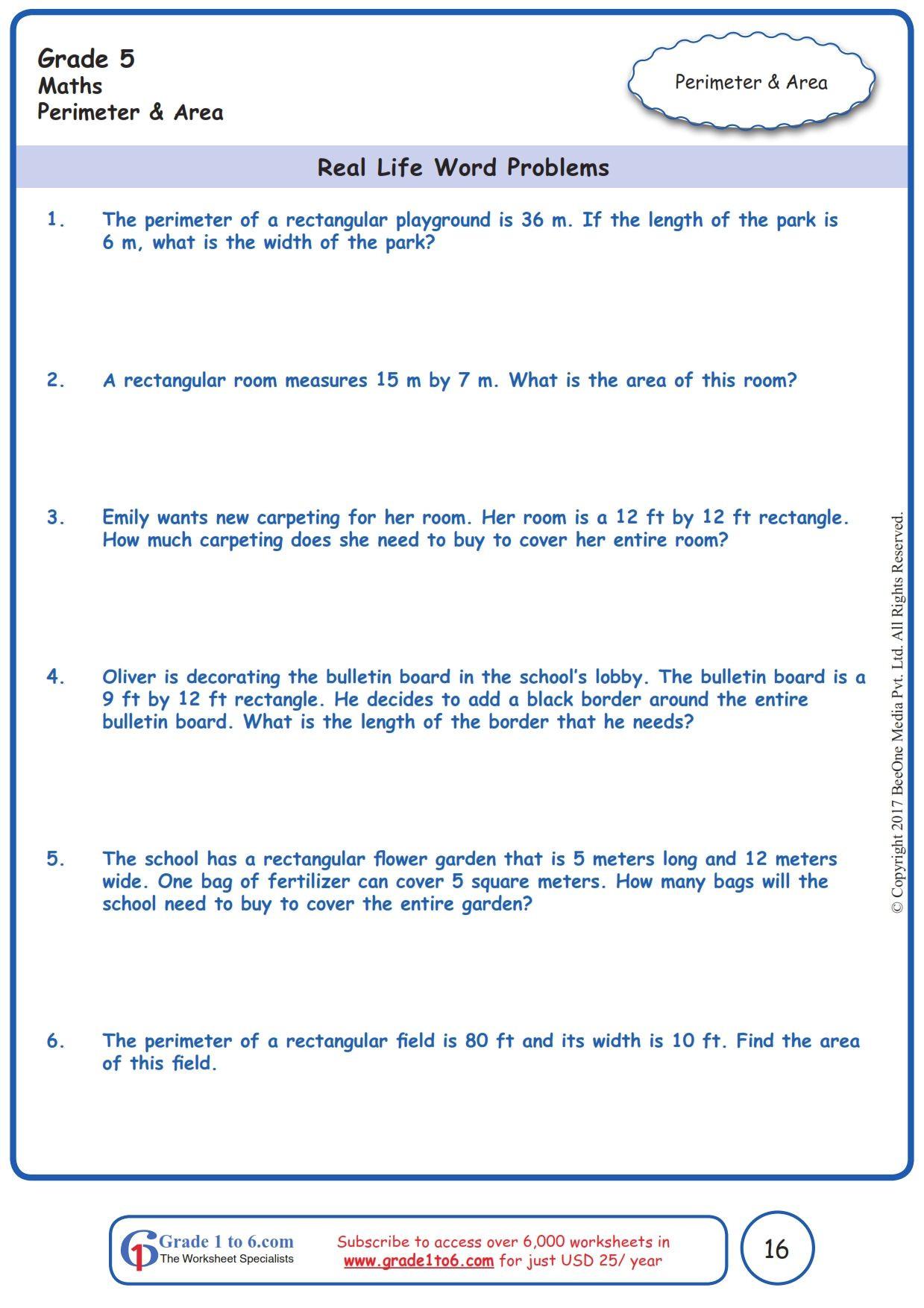 30 Perimeter Word Problems Worksheet