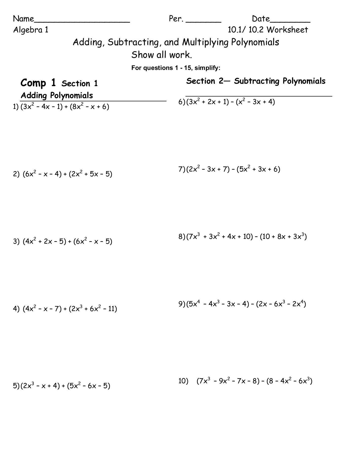 30 Polynomials Worksheet With Answers