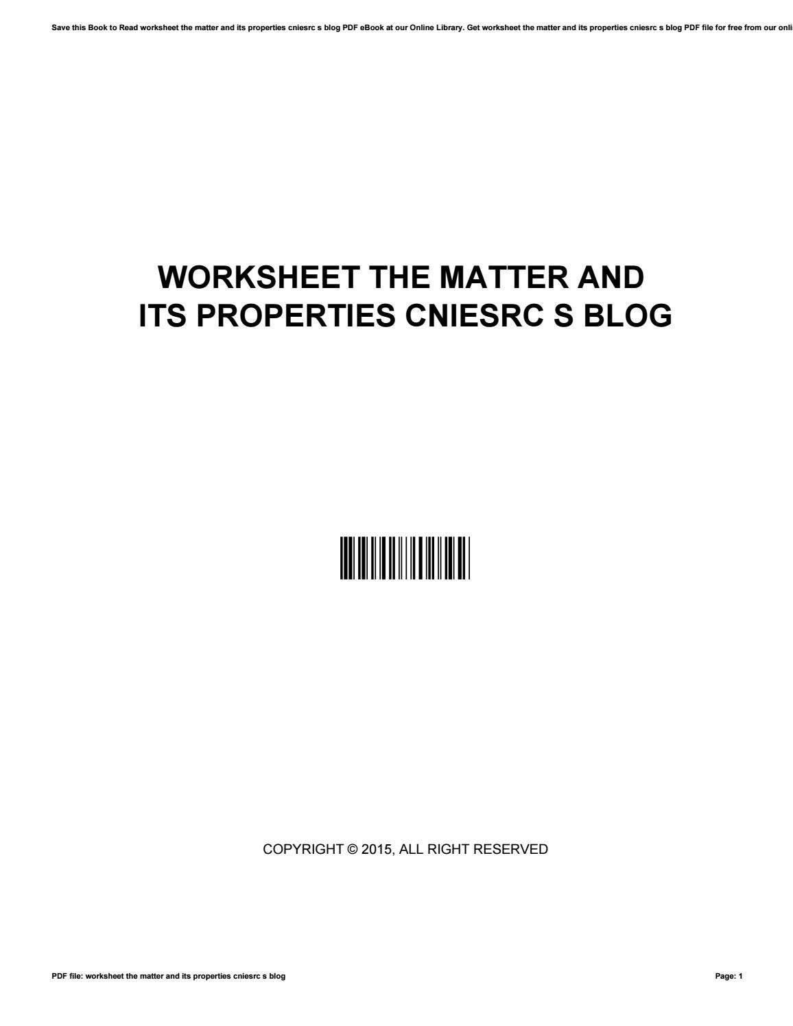 30 Properties Of Matter Worksheet