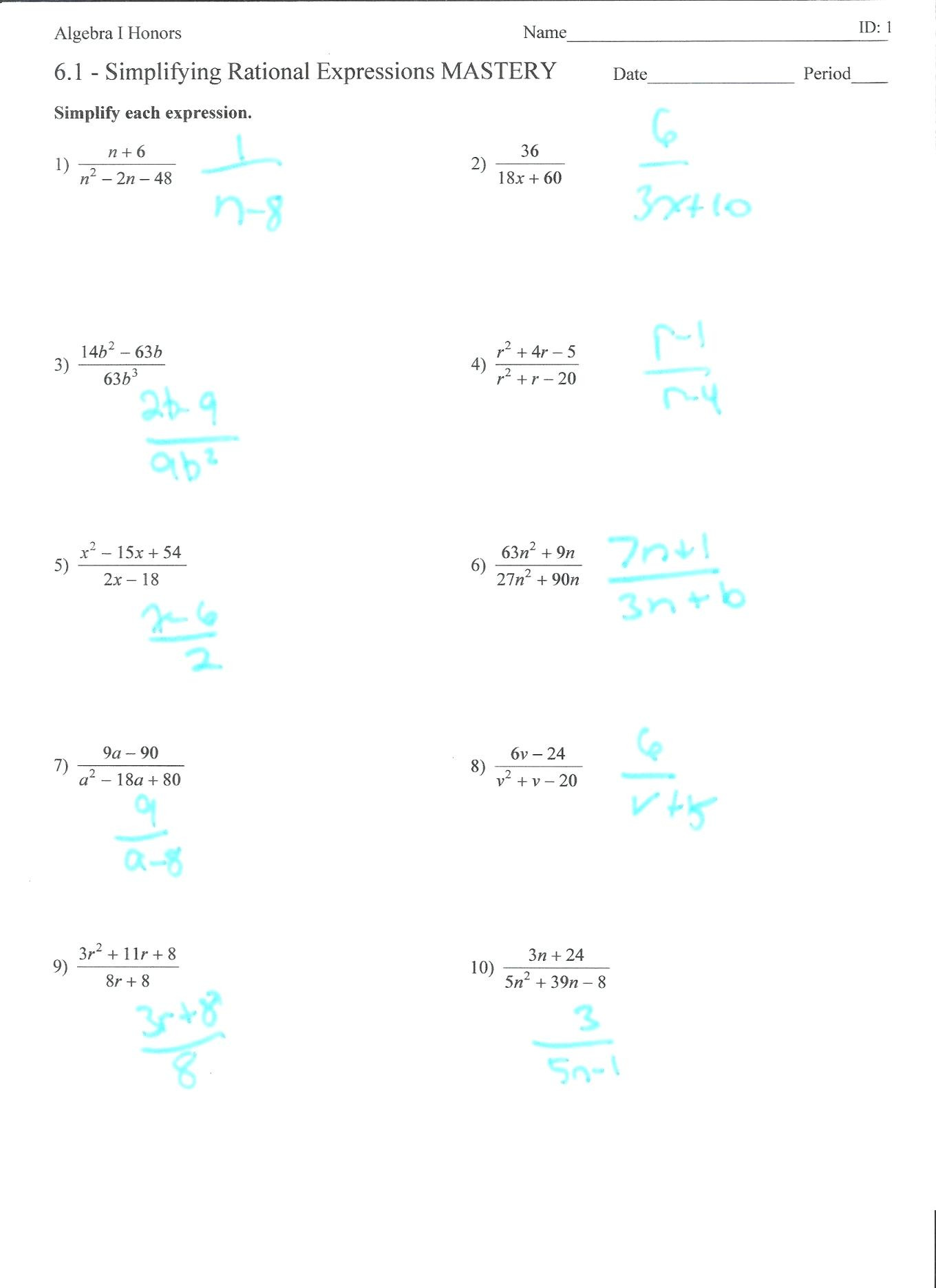 30 Rational Expressions Worksheet Answers