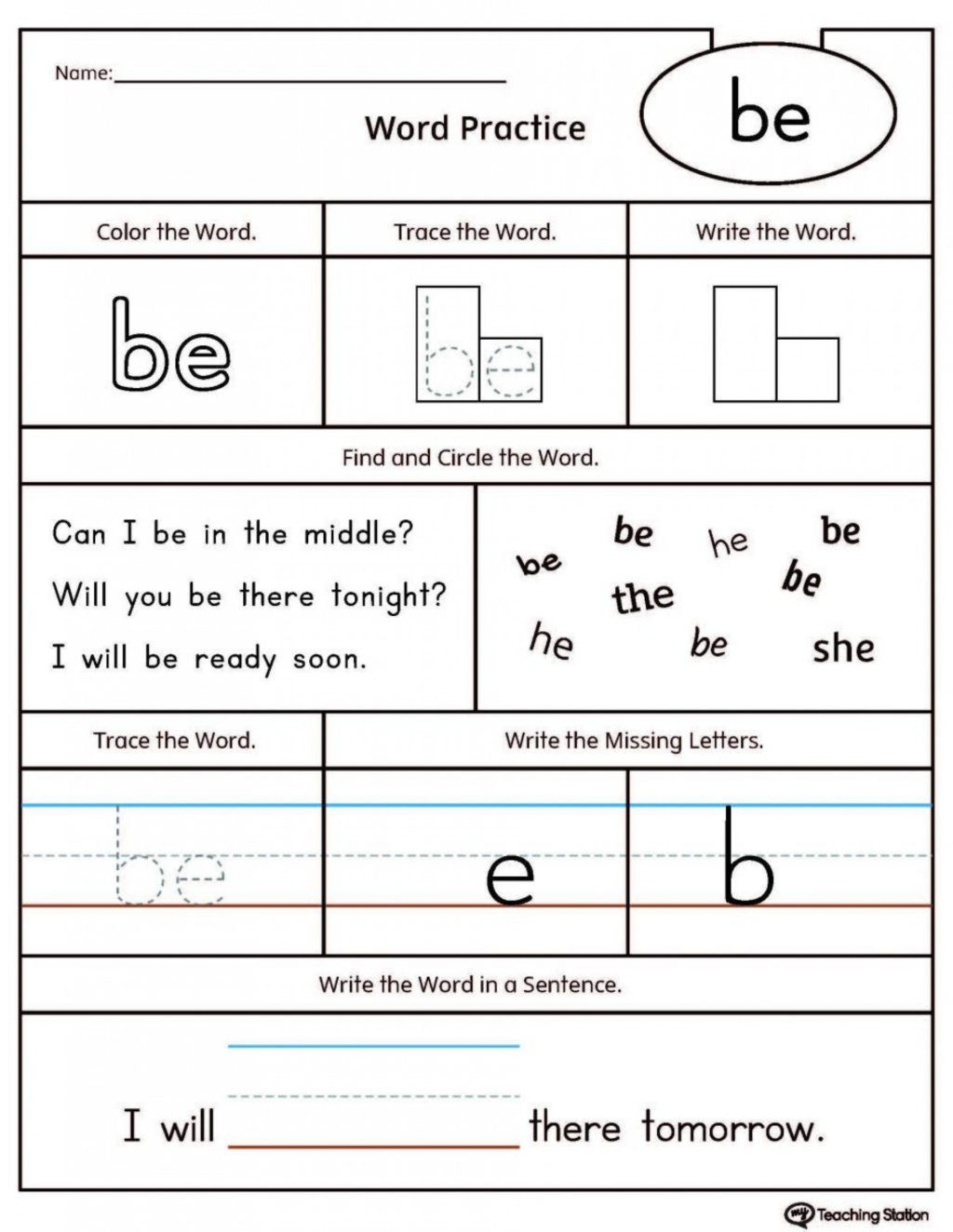 30 Sight Word Like Worksheet