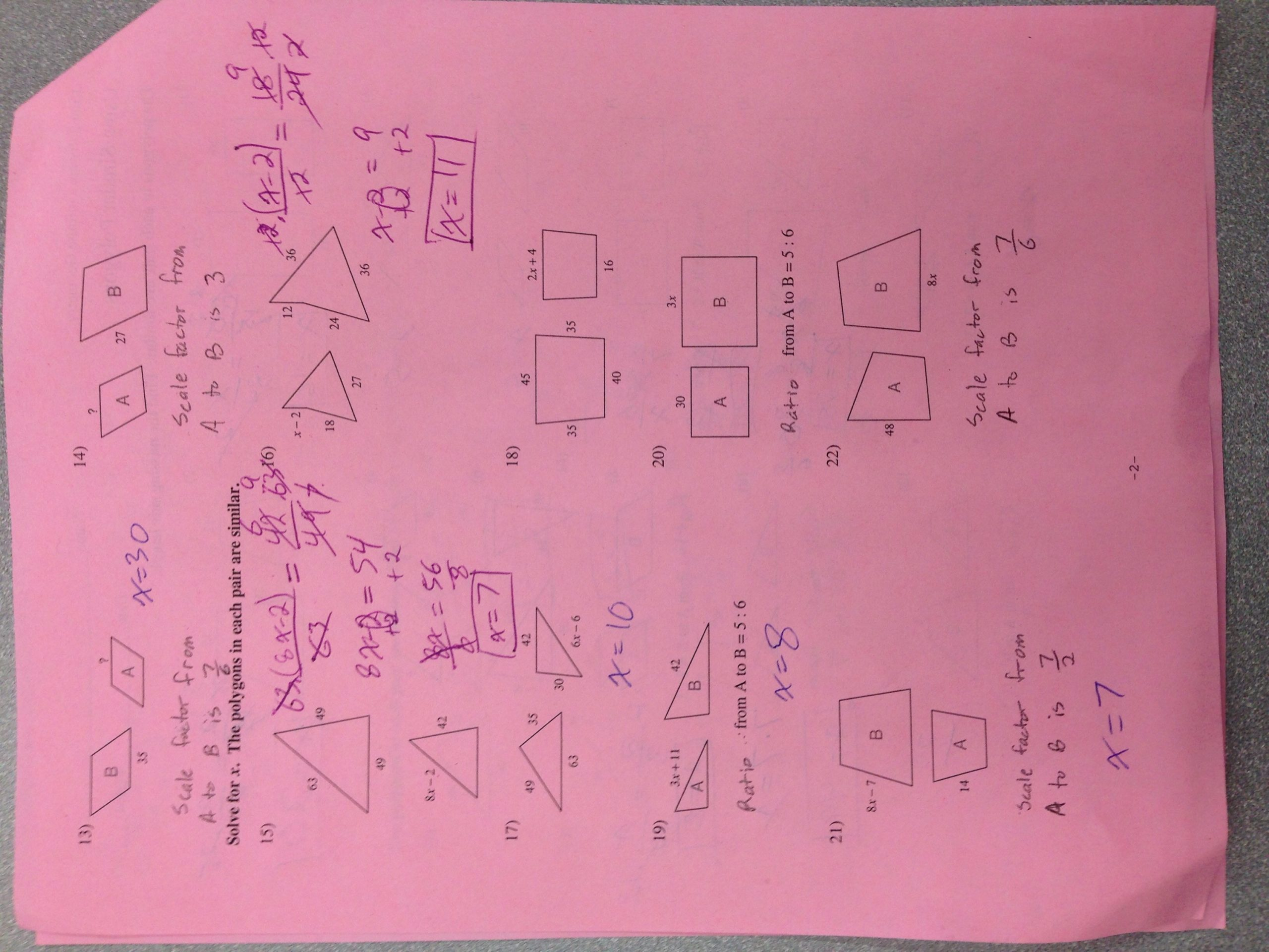Similar Polygons Worksheet Answers