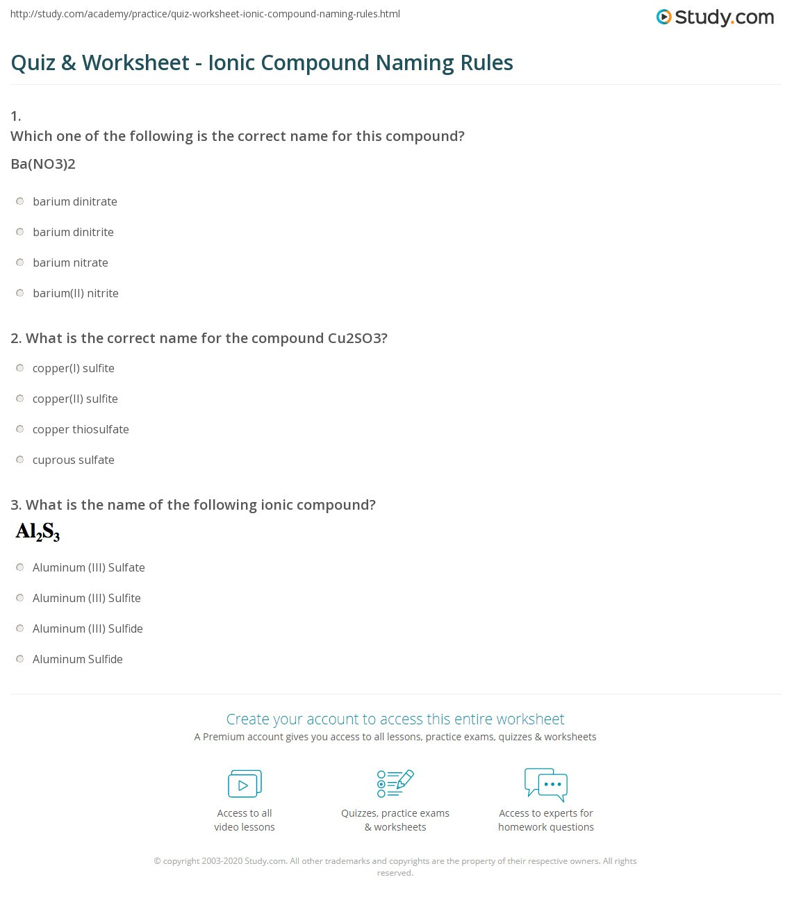 31 Simple Binary Ionic Compounds Worksheet