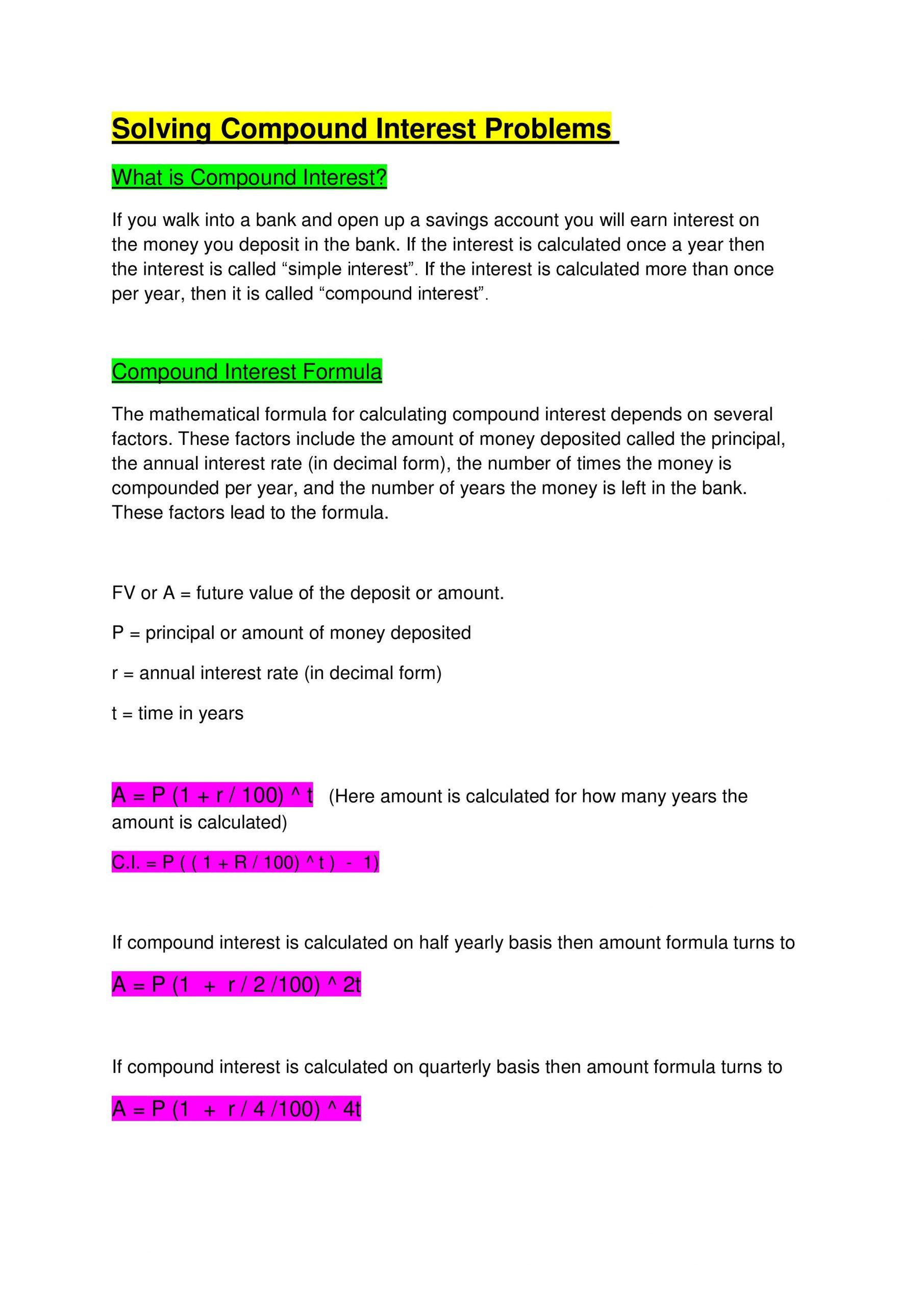 30 Simple Interest Problems Worksheet