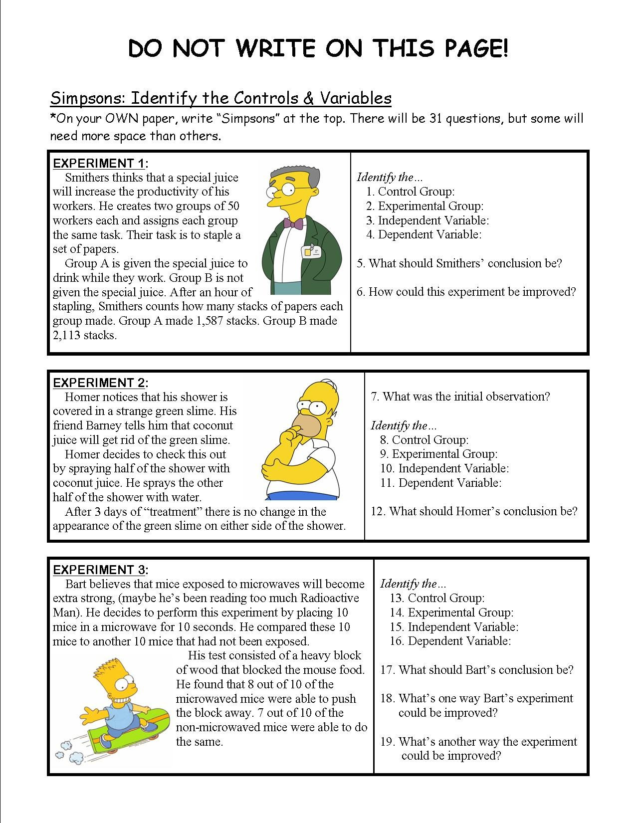 Simpsons Variables Worksheet Answers Education Template