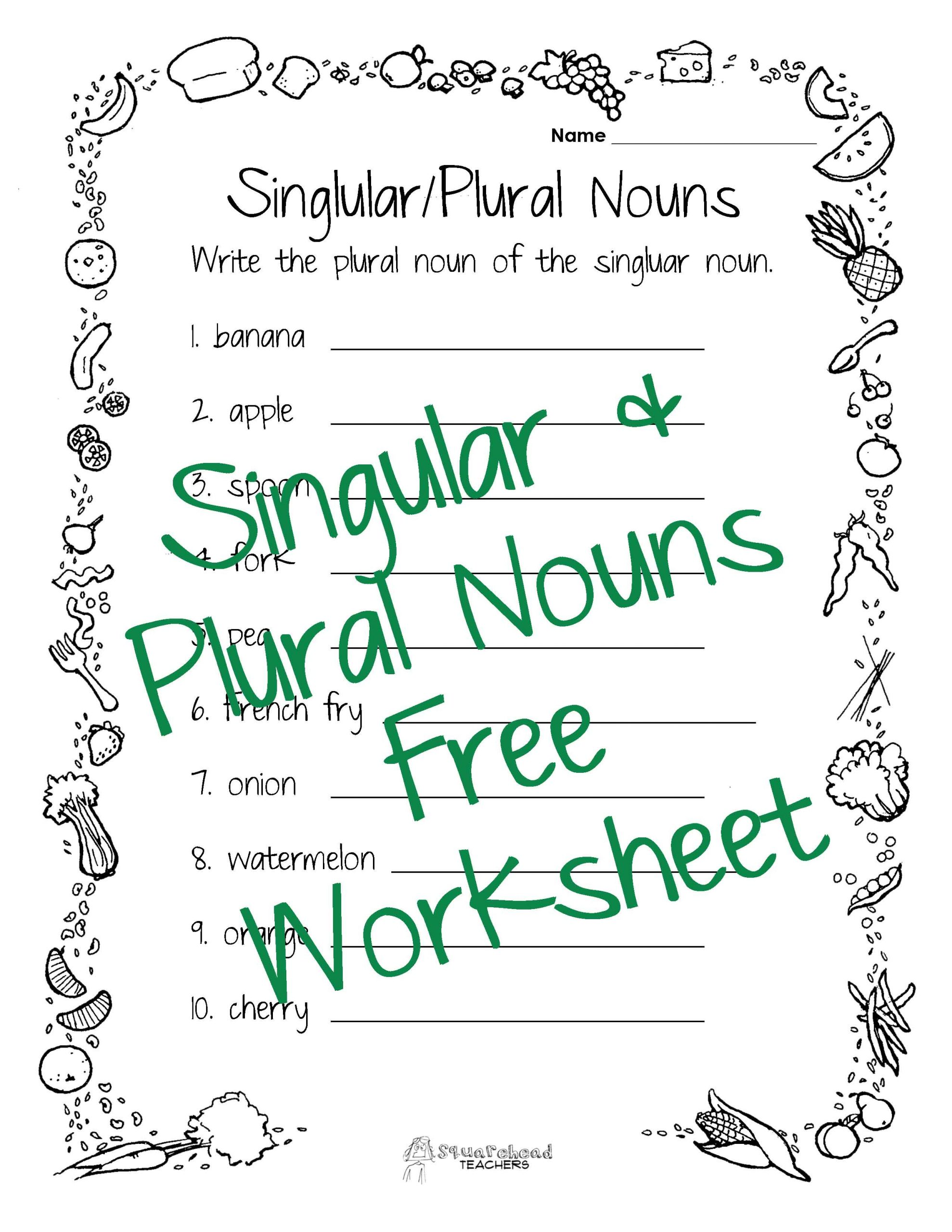 30 Singular And Plural Nouns Worksheet