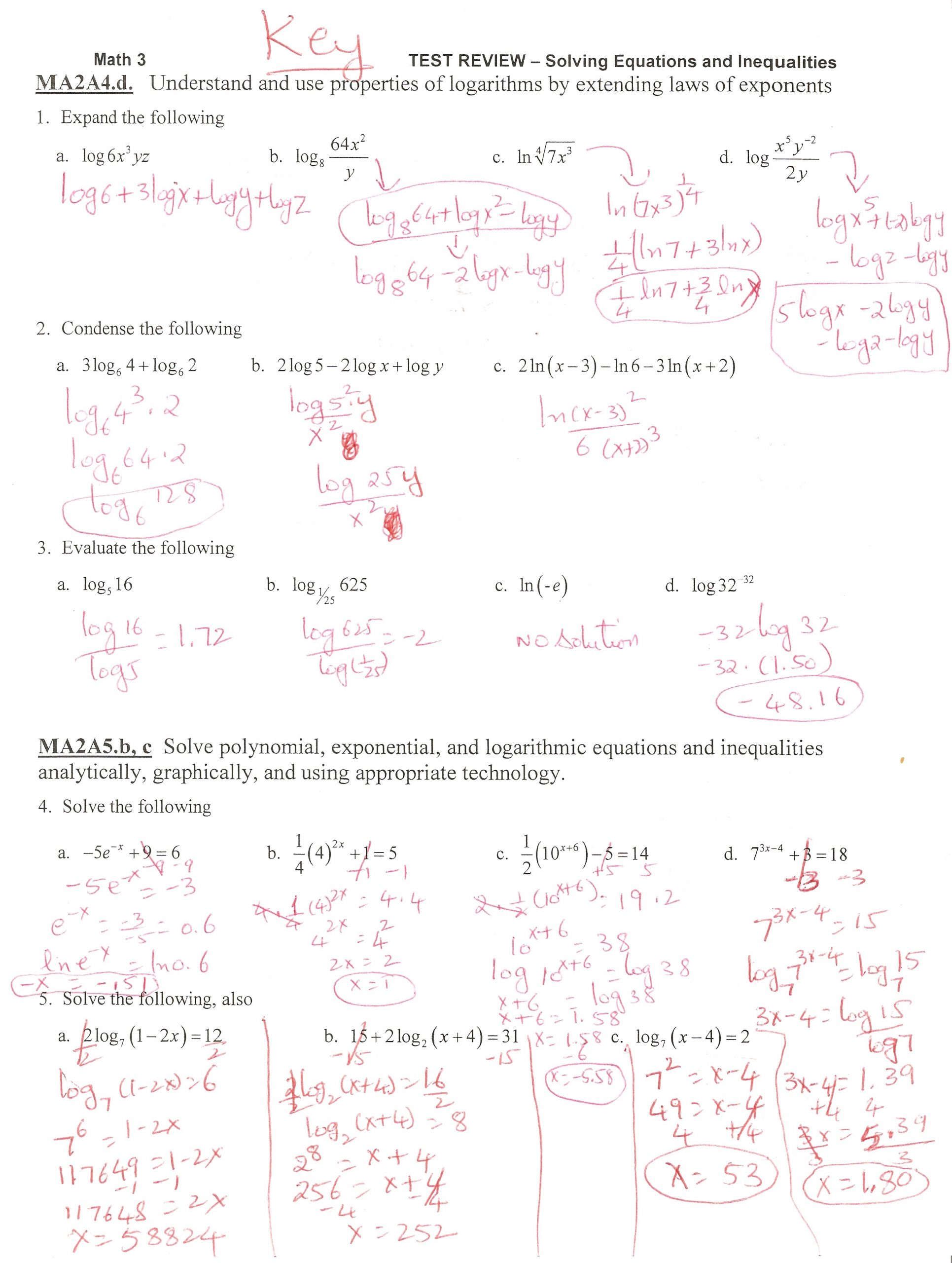 30 Solving Exponential Equations Worksheet
