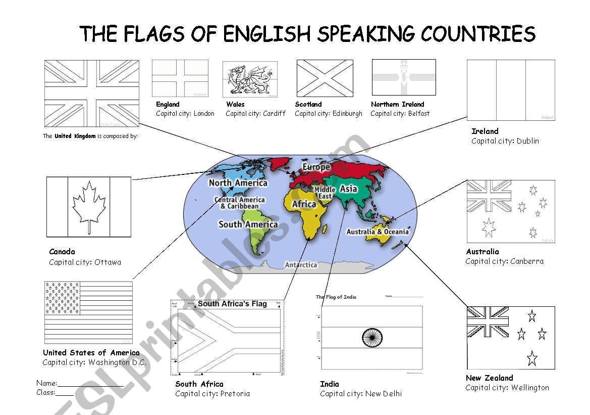 30 Spanish Speaking Countries Worksheet