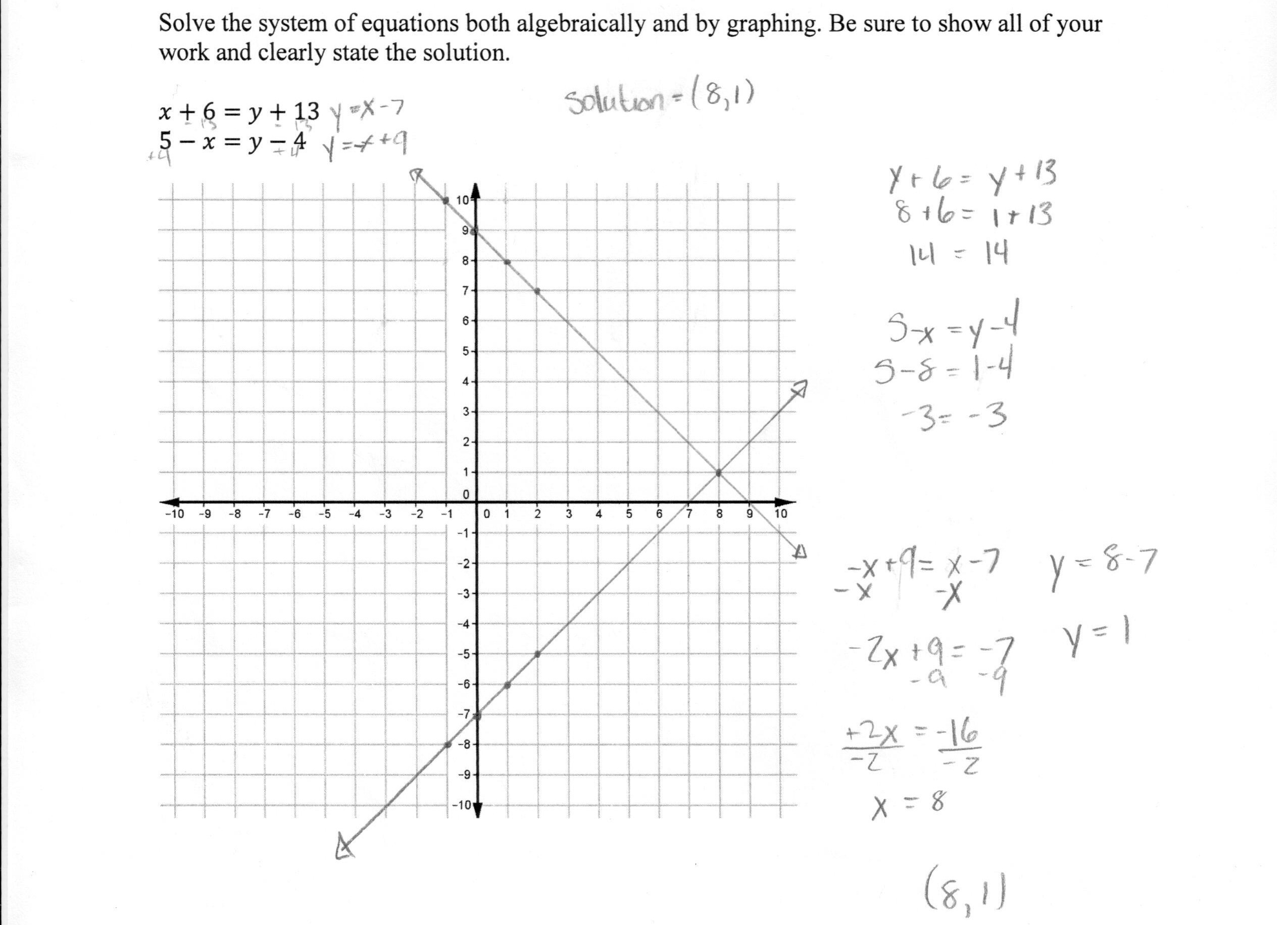 Systems Of Linear Equations Worksheet