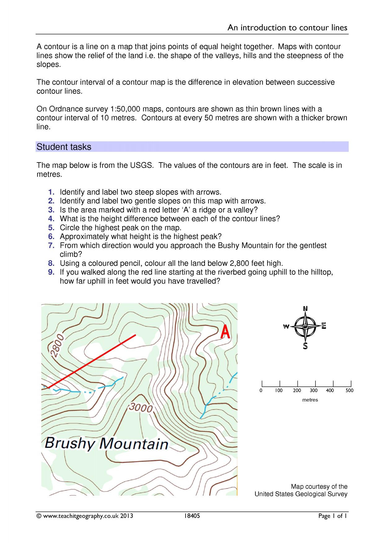 Topographic Map Reading Worksheet Answers Education Template