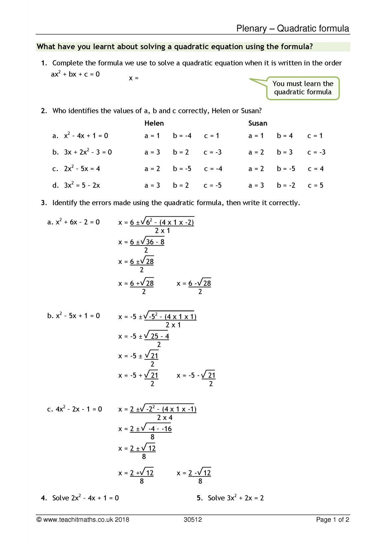 Using The Quadratic Formula Worksheet Education Template