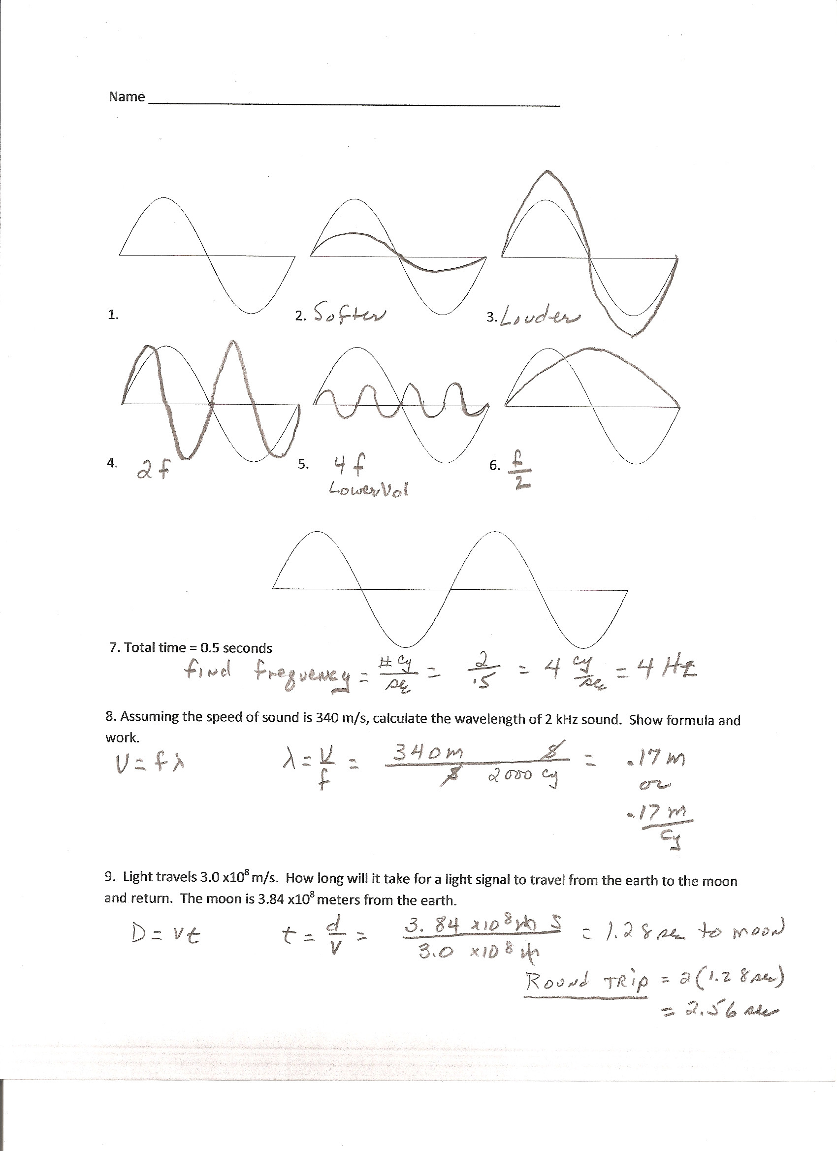 30 Wave Worksheet Answer Key