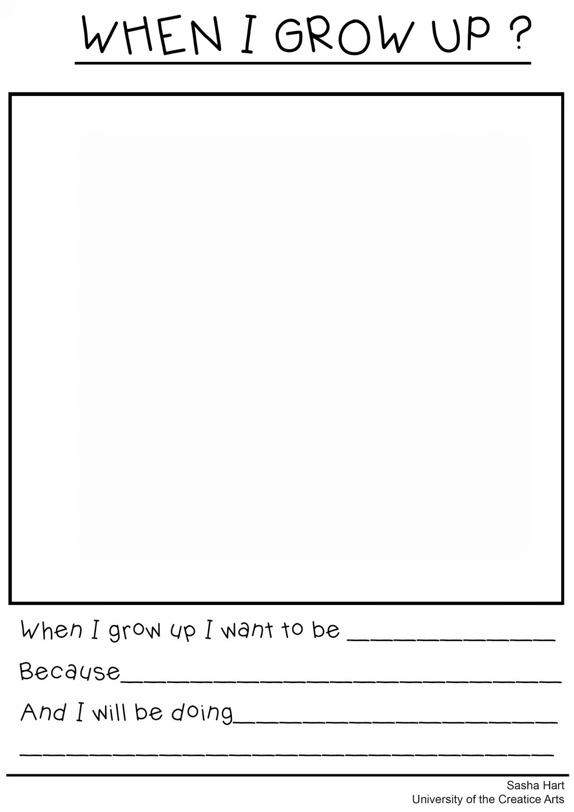 30 When I Grow Up Worksheet